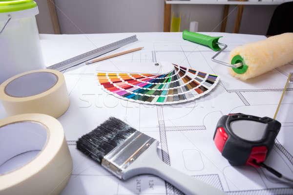 Kleur begeleiden blauwdruk verf penseel papier Stockfoto © AndreyPopov
