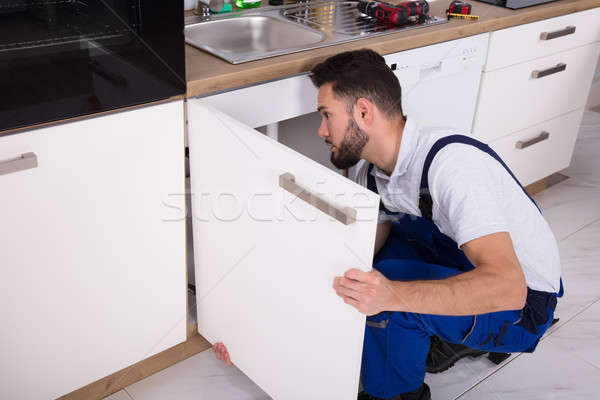 Handyman Fixing Sink Door Stock photo © AndreyPopov