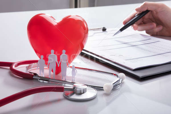 Stethoscope, Family Paper Cut Out And Red Heart Stock photo © AndreyPopov
