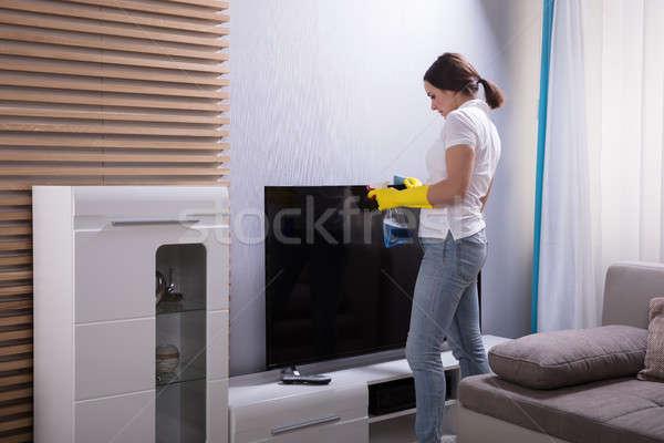 Jonge vrouw schoonmaken televisie spray home vrouw Stockfoto © AndreyPopov
