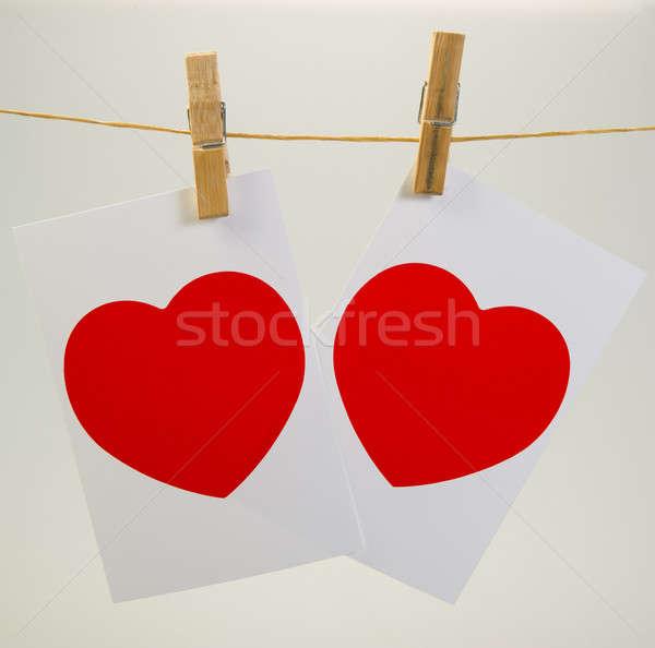 Valentine dois fotos corda símbolo papel Foto stock © Andriy-Solovyov