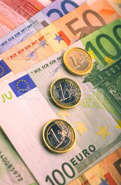 Euros monétaire pièces avantage une cent Photo stock © Andriy-Solovyov