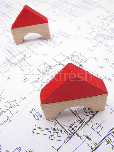 Toy houses and drawings Stock photo © Andriy-Solovyov
