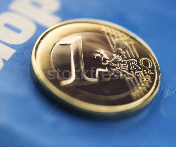 Euro bir sikke mavi kâğıt Stok fotoğraf © Andriy-Solovyov