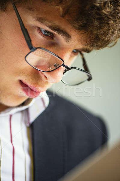 Empresário óculos vigoroso atrás mão Foto stock © Andriy-Solovyov