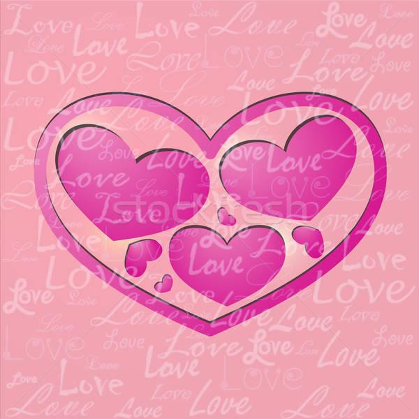 Rosa san valentino carta diverso cuore forme Foto d'archivio © Anettphoto