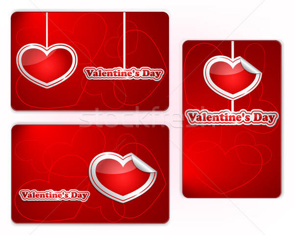 Set of red Valentine's Day gift cards Stock photo © Anettphoto