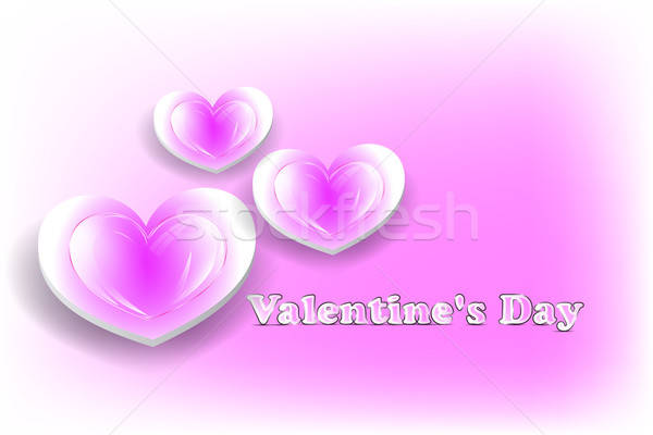 Pink Valentine's day card with glossy hearts Stock photo © Anettphoto
