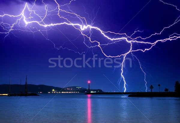 Fulmini sopra lago grande spiaggia cielo Foto d'archivio © Anettphoto