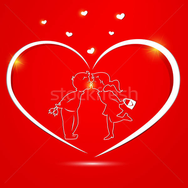 Valentine's day card with kissing couple inside Stock photo © Anettphoto