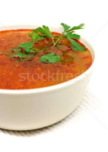 Tál leves petrezselyem izolált fehér tyúk Stock fotó © Anettphoto
