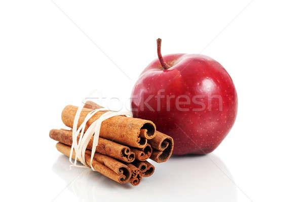 Piros alma fahéj izolált fehér étel háttér Stock fotó © Anettphoto
