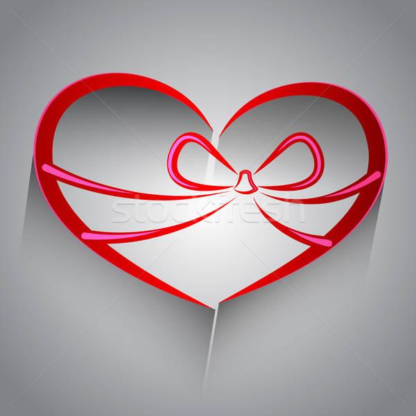 A forma di cuore vettore oggetto abstract rosso nastro Foto d'archivio © Anettphoto