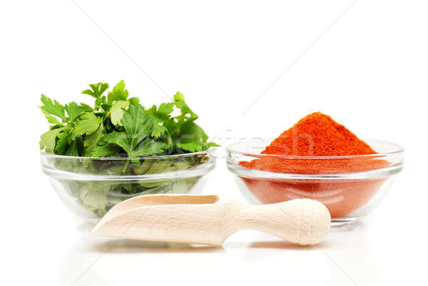 Parsley and red ground pepper and wooden spoon Stock photo © Anettphoto