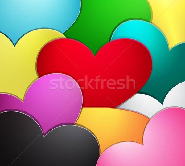 Absztrakt szív szívárványszínű papír textúra terv Stock fotó © Anettphoto