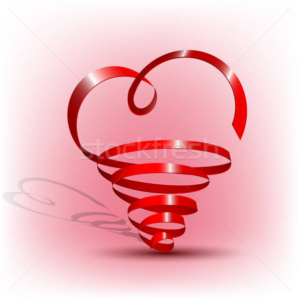 Abstract red ribbon heart shape Stock photo © Anettphoto