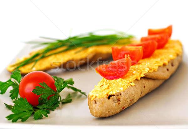 Szendvics sajt zöldségek finom tányér izolált Stock fotó © Anettphoto
