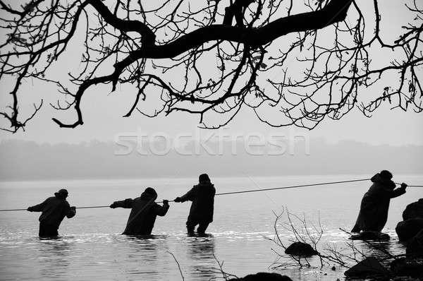 Lago bianco nero foto acqua sport barca Foto d'archivio © Anettphoto