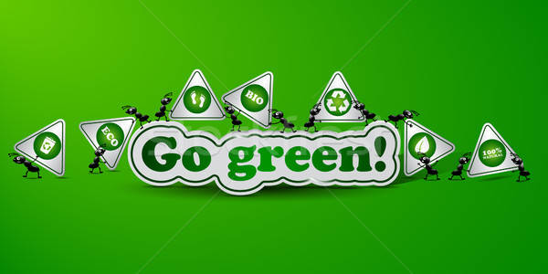 Zöld kártya ökológia hangyák matricák terv Stock fotó © Anettphoto