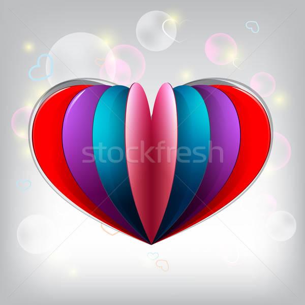 Valentin nap kártya nagy színes szív alak papír Stock fotó © Anettphoto