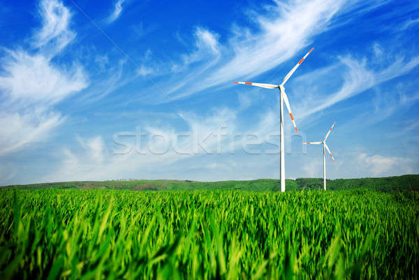 Wind energy turbines on the field Stock photo © Anettphoto