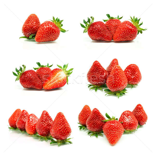 Set of a fresh red strawberries Stock photo © Anettphoto