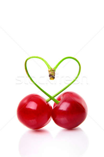 Heart shape from cherries over white Stock photo © Anettphoto