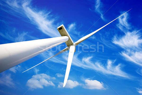 Szél energia turbina kék felhős égbolt Stock fotó © Anettphoto