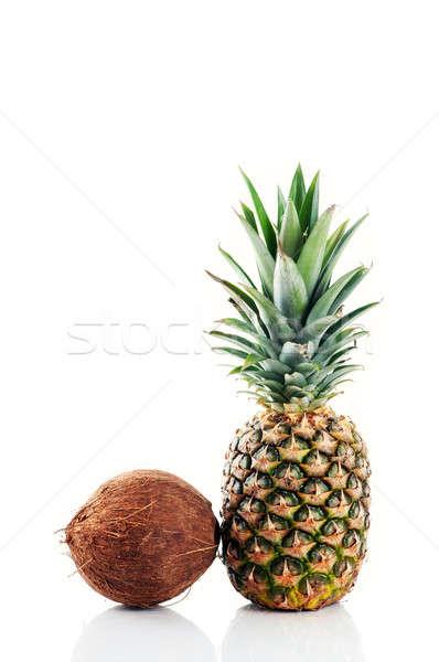 Cocco ananas isolato bianco frutta bere Foto d'archivio © Anettphoto