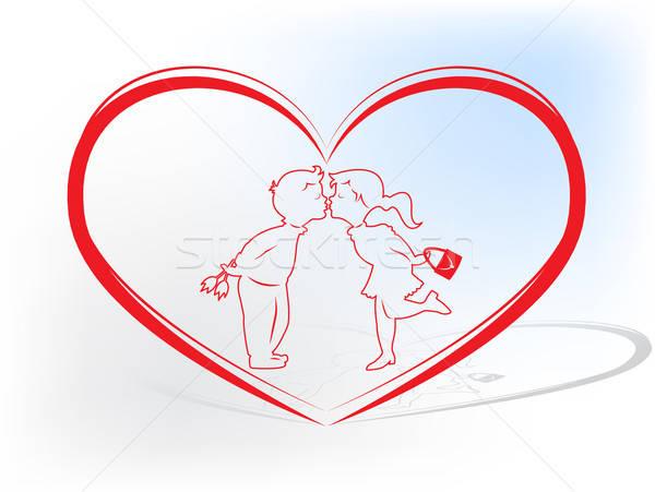 Valentin nap kártya csók pár bent nő Stock fotó © Anettphoto