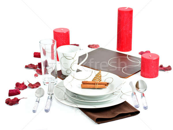 Dinner set with Christmas decoration Stock photo © Anettphoto
