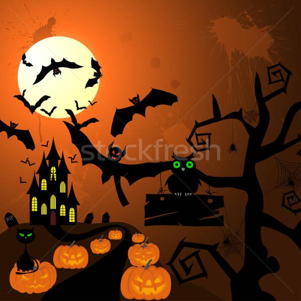 Feliz halloween cartão cartão casa cara Foto stock © angelp