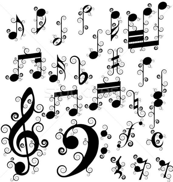 Göndör jegyzetek szett tele szimbólumok fehér Stock fotó © angelp