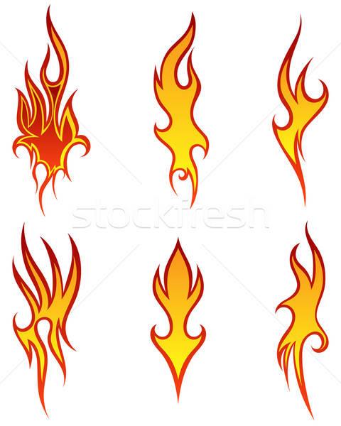 Yangın desen ayarlamak farklı dizayn imzalamak Stok fotoğraf © angelp