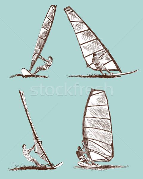 Windszörf rajz szett vektor eps 10 Stock fotó © angelp