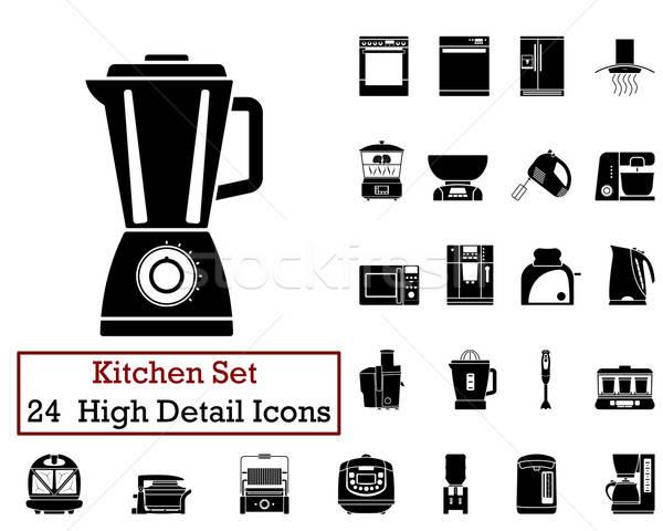 24 mutfak simgeler siyah renk Stok fotoğraf © angelp