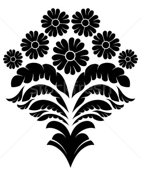Damassé emblème style blanche fleur fond Photo stock © angelp