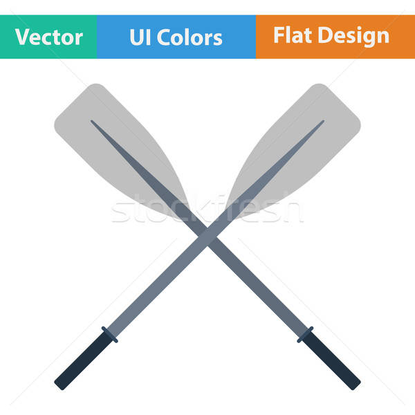 Flat design icon of  boat oars Stock photo © angelp