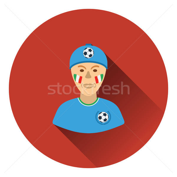 Football fan with painted face by italian flags icon Stock photo © angelp