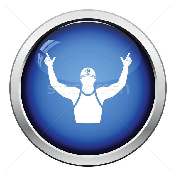Piłka nożna fan ikona przycisk Zdjęcia stock © angelp