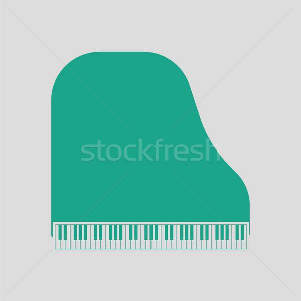 Kuyruklu piyano ikon gri yeşil arka plan çerçeve Stok fotoğraf © angelp