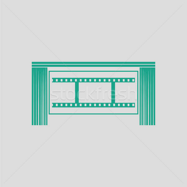 Cinema teatro auditorium icona grigio verde Foto d'archivio © angelp