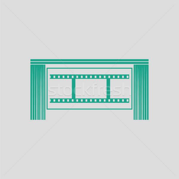 Sinema tiyatro oditoryum ikon gri yeşil Stok fotoğraf © angelp