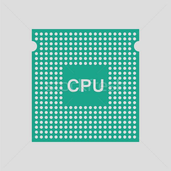 CPU icono gris verde red web Foto stock © angelp