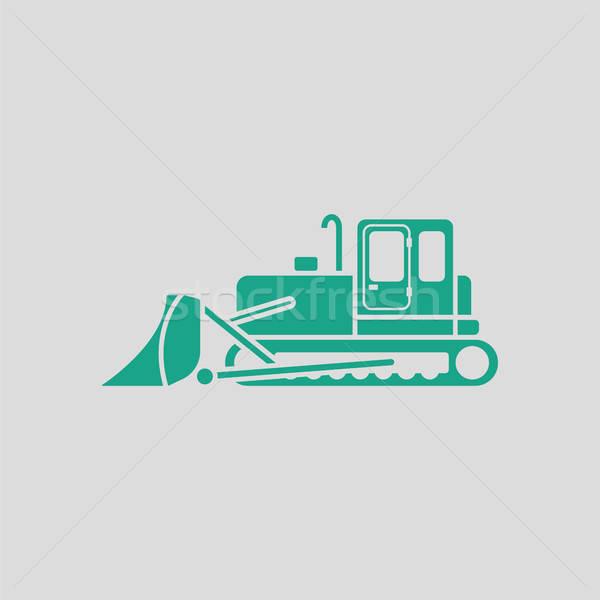Icono construcción excavadora gris verde tecnología Foto stock © angelp