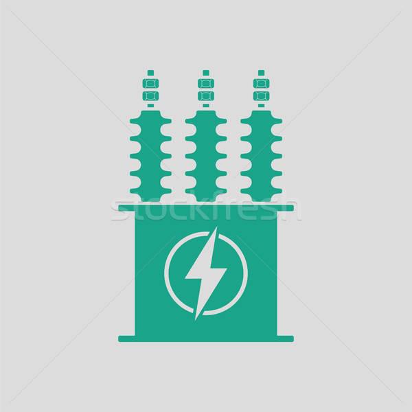 Stock fotó: Elektromos · transzformátor · ikon · szürke · zöld · háttér