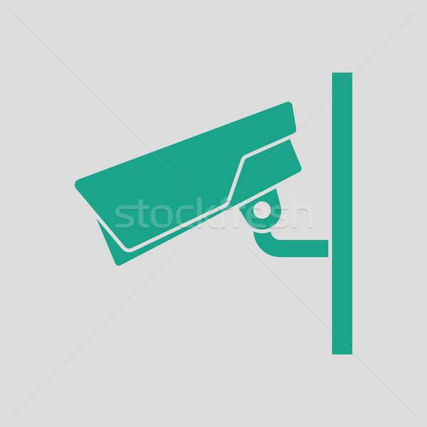 Biztonsági kamera ikon szürke zöld televízió háttér Stock fotó © angelp