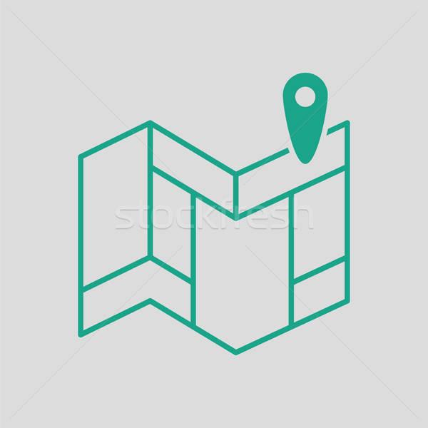Navegação mapa ícone cinza verde rua Foto stock © angelp