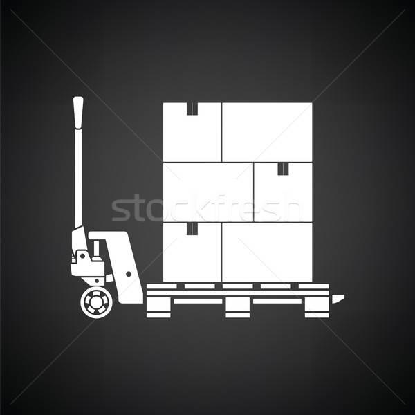 El hidrolik kutuları ikon siyah beyaz arka plan Stok fotoğraf © angelp