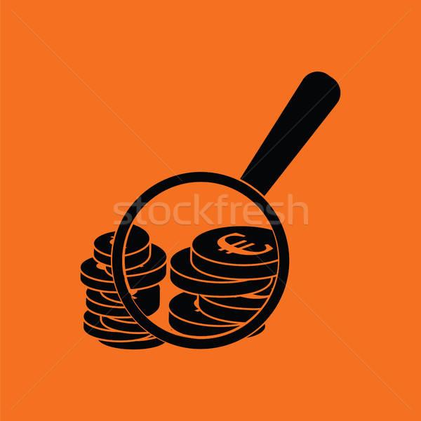 Photo stock: Loupe · pièces · icône · orange · noir